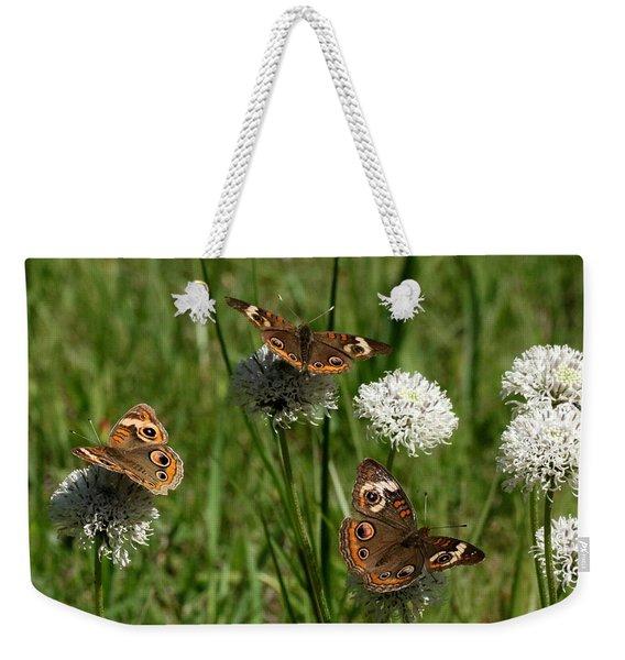 Three Buckeye Butterflies On Wildflowers Weekender Tote Bag