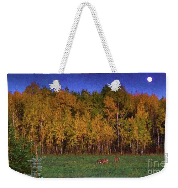 Three Deer And A Moon Weekender Tote Bag