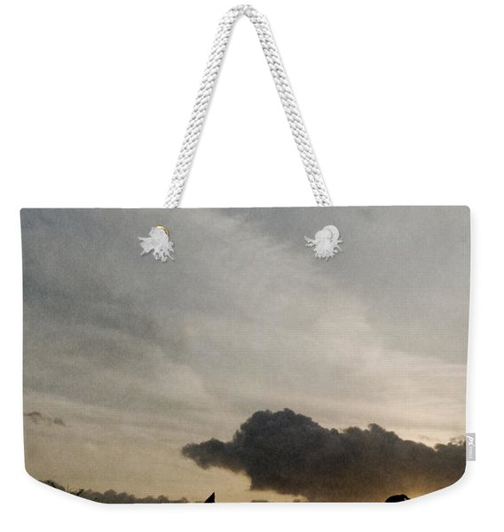 Three Dogs At Sunset Weekender Tote Bag