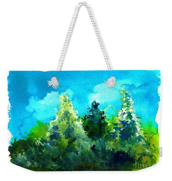 Three Evergreens Weekender Tote Bag