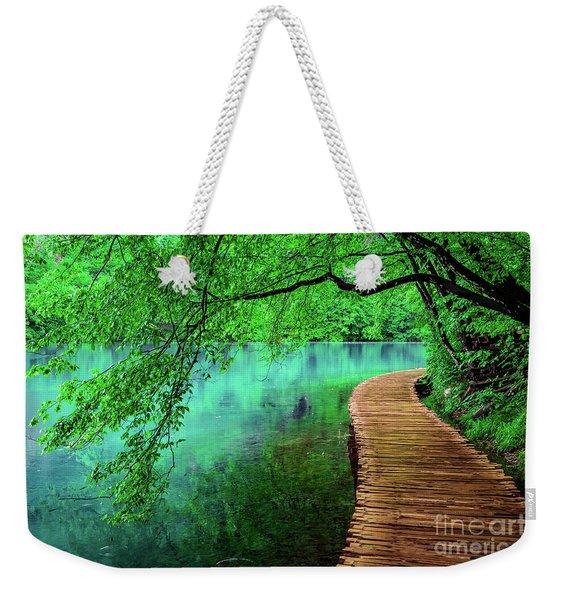 Tree Hanging Over Turquoise Lakes, Plitvice Lakes National Park, Croatia Weekender Tote Bag