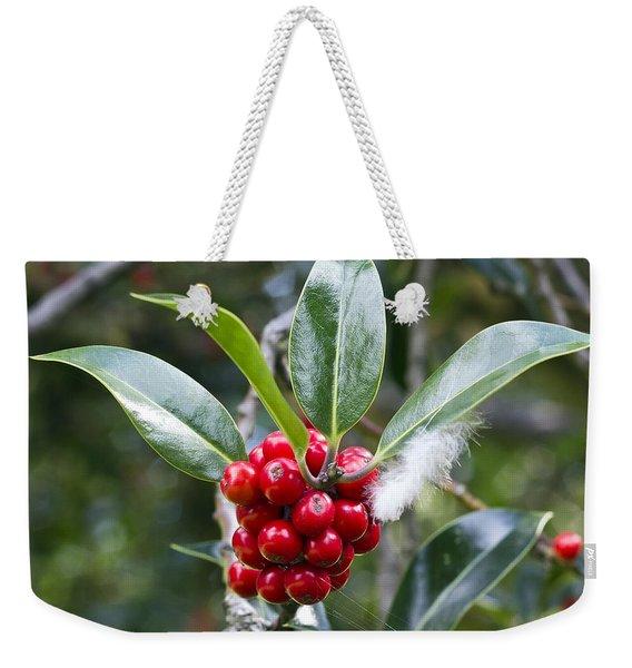 Three Happy Leaves Among Red Berries Weekender Tote Bag