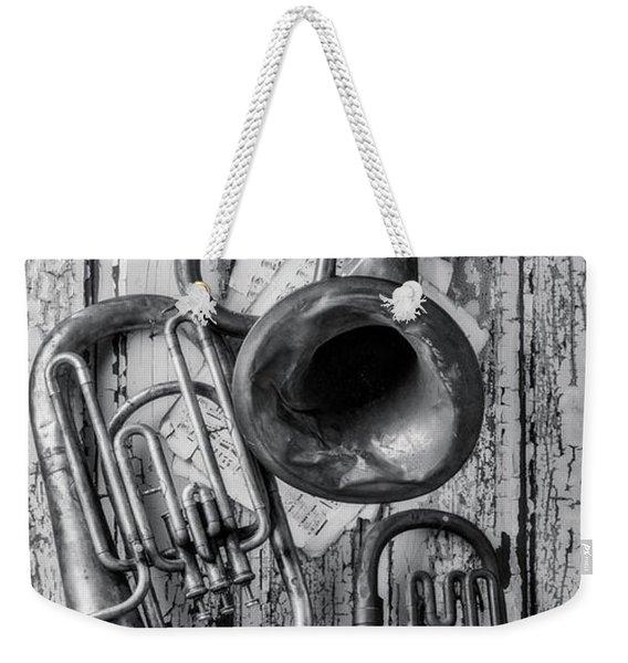 Three Horns Hanging On Door Weekender Tote Bag