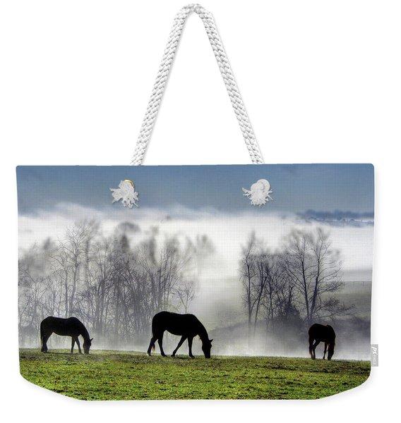 Three Horse Morning Weekender Tote Bag