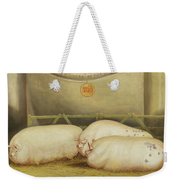 Three Improved Leicesters In A Pen At 1858 Smithfield Club Christmas Show Weekender Tote Bag