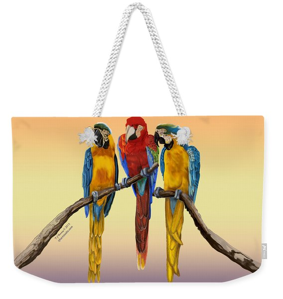 Three Macaws Hanging Out Weekender Tote Bag