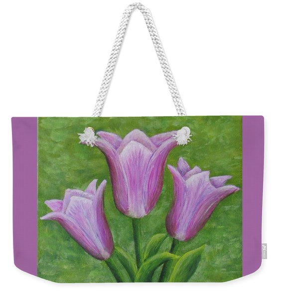 Weekender Tote Bag featuring the painting Three Pink Tulips by Nancy Nale