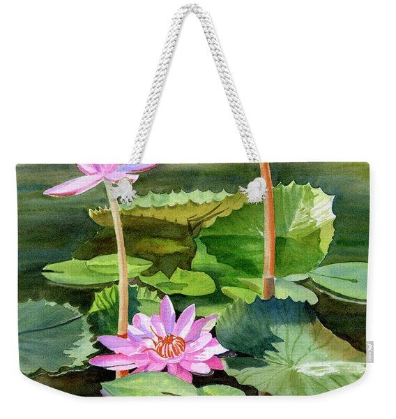Three Pink Water Lilies With Pads Weekender Tote Bag
