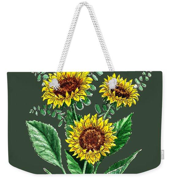 Three Playful Sunflowers Weekender Tote Bag
