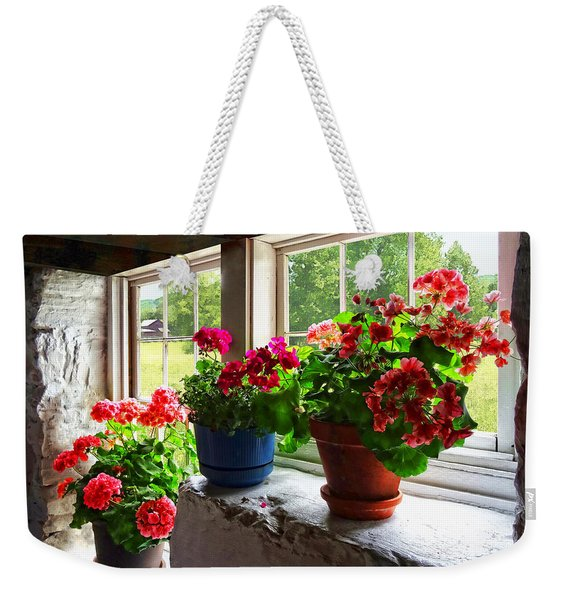 Three Pots Of Geraniums On Windowsill Weekender Tote Bag