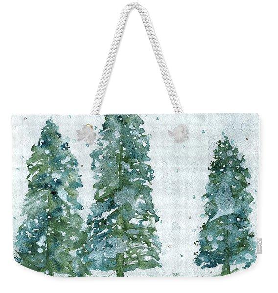 Three Snowy Spruce Trees Weekender Tote Bag