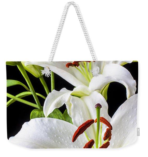 Three White Lilies Weekender Tote Bag
