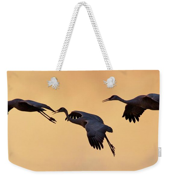 Weekender Tote Bag featuring the pyrography Three's Comapany by Michael Lucarelli