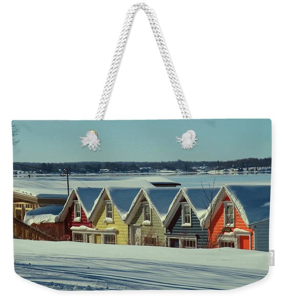 Winter View Ti Park Boathouses Weekender Tote Bag