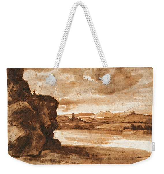 Tiber Landscape North Of Rome With Dark Cloudy Sky Weekender Tote Bag
