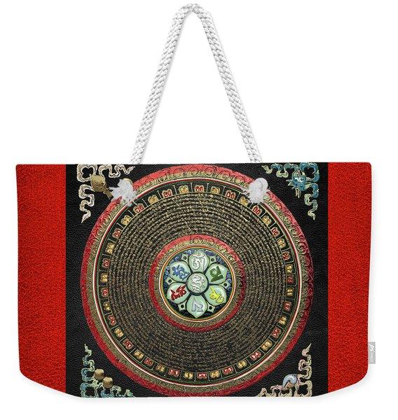 Tibetan Om Mantra Mandala In Gold On Black And Red Weekender Tote Bag