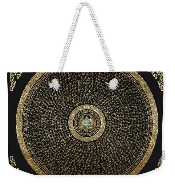 Tibetan Thangka - Green Tara Goddess Mandala With Mantra In Gold On Black Weekender Tote Bag