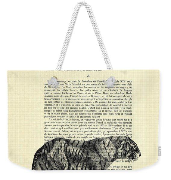 Tiger Black And White Illustration Weekender Tote Bag