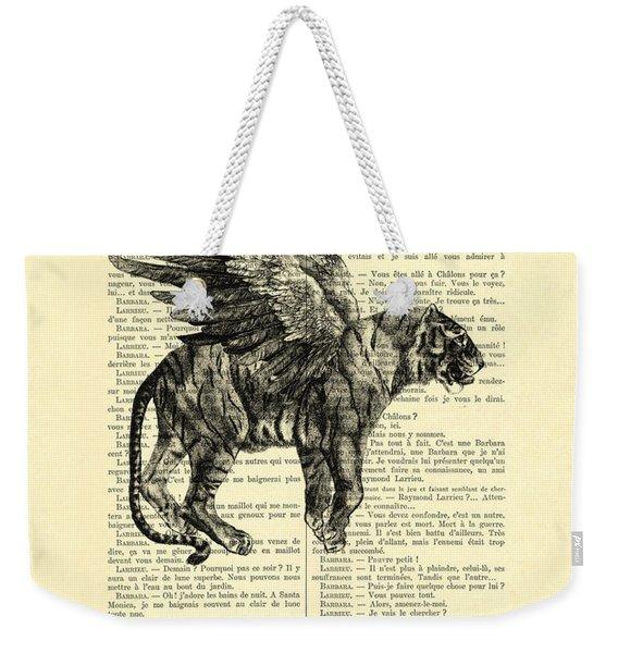 Tiger With Angel Wings In Black Ad White Weekender Tote Bag