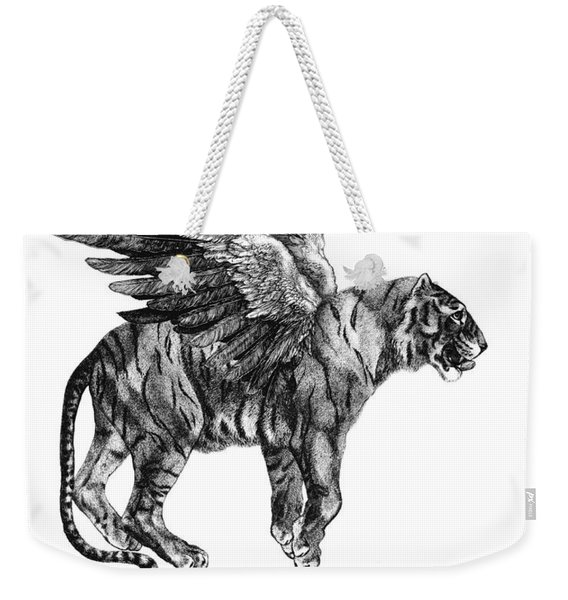 Tiger With Wings, Black And White Illustration Weekender Tote Bag
