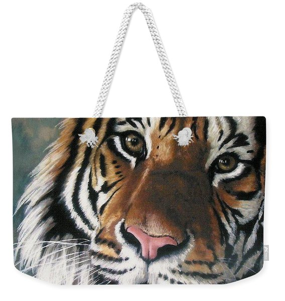 Weekender Tote Bag featuring the pastel Tigger by Barbara Keith