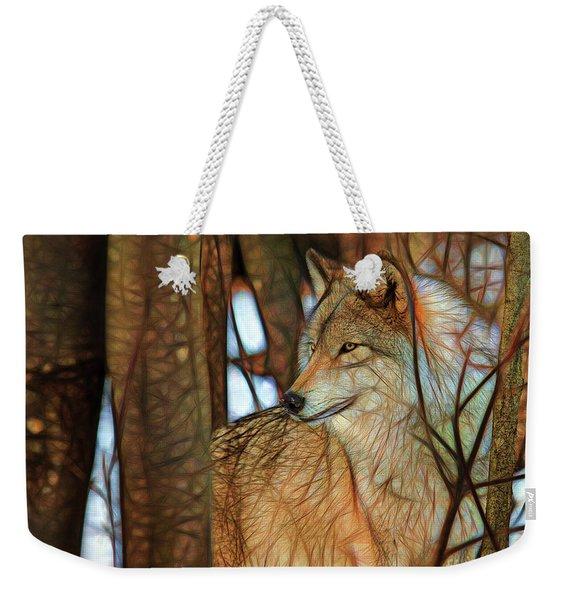 Timber Wolf Colorful Art Weekender Tote Bag