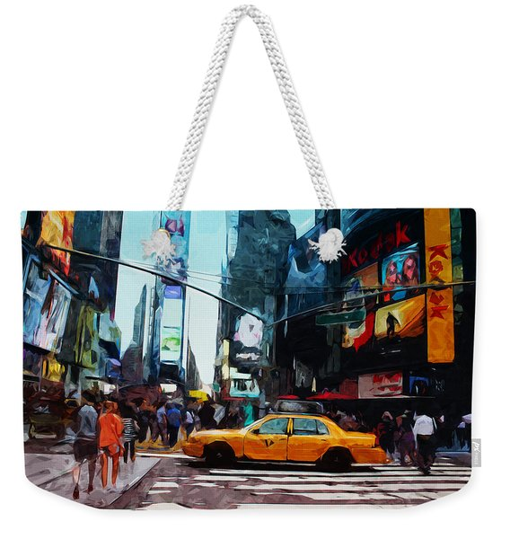 Times Square Taxi- Art By Linda Woods Weekender Tote Bag