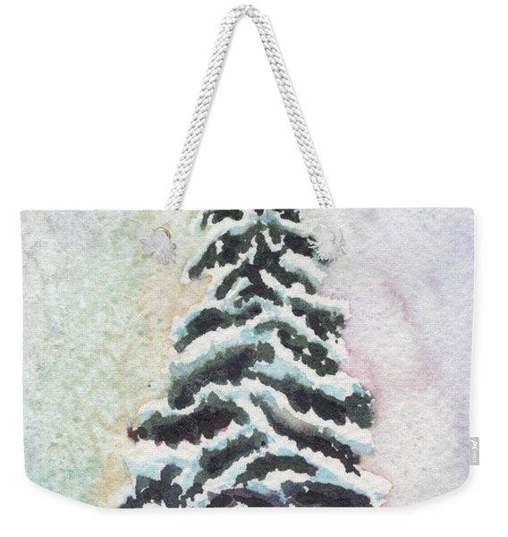 Tiny Snowy Tree Weekender Tote Bag