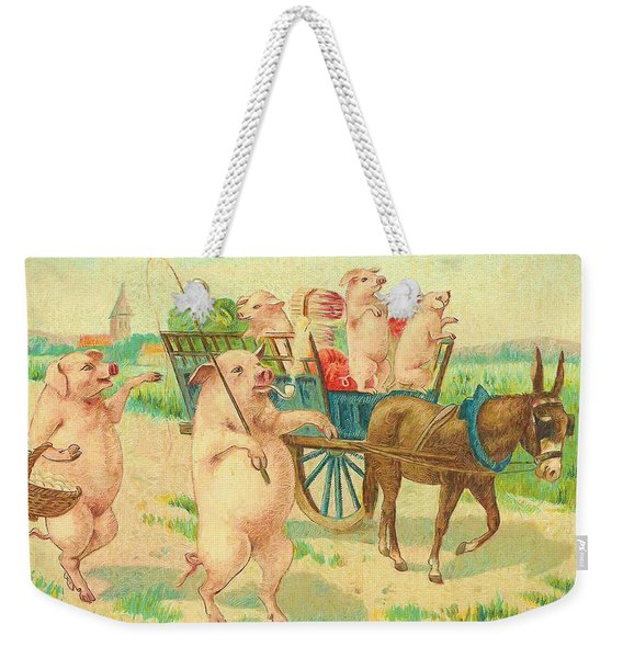 To Market To Market To Buy A Fat Pig 86 - Painting Weekender Tote Bag