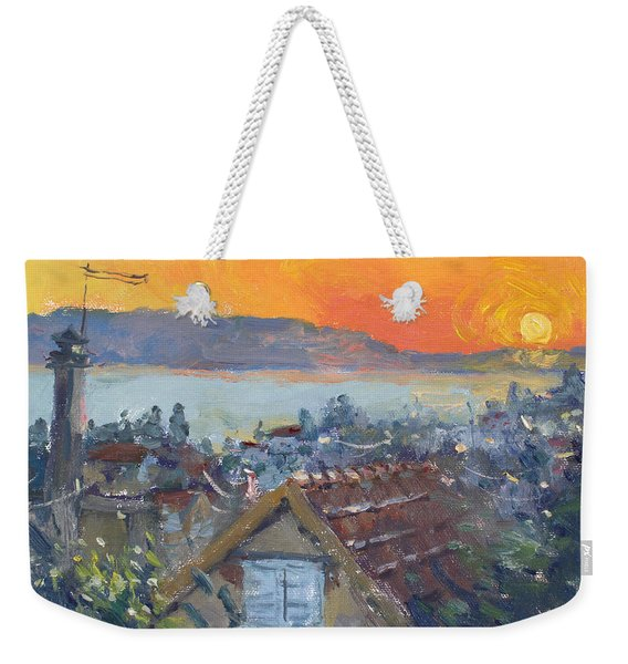 Today Sunrise Over Dilesi Greece Weekender Tote Bag
