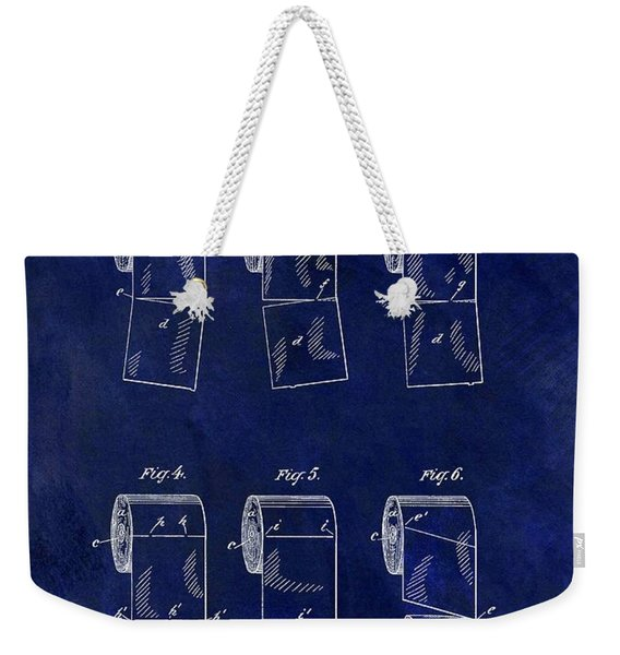 Toilet Paper Roll Patent Blue Weekender Tote Bag