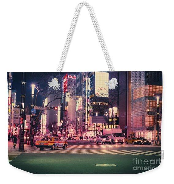 Tokyo Street At Night, Japan 2 Weekender Tote Bag