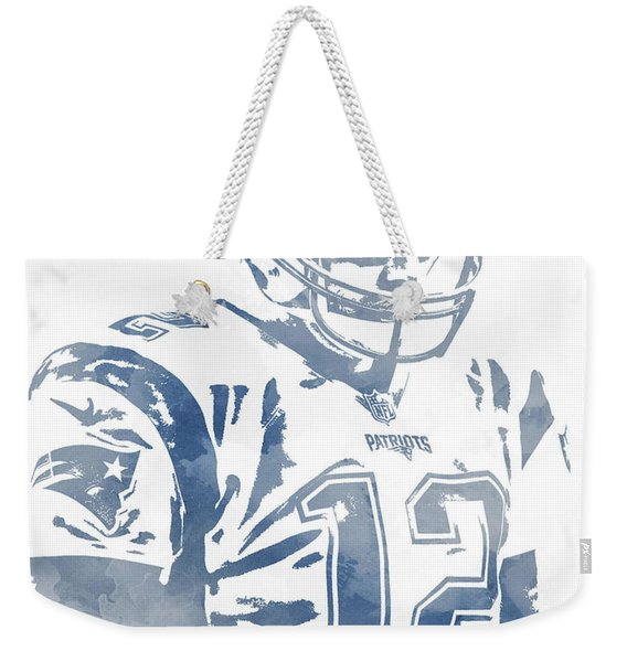 Tom Brady New England Patriots Water Color Pixel Art 10 Weekender Tote Bag