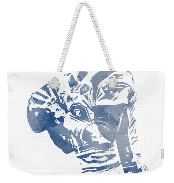 Tom Brady New England Patriots Water Color Pixel Art 5 Weekender Tote Bag