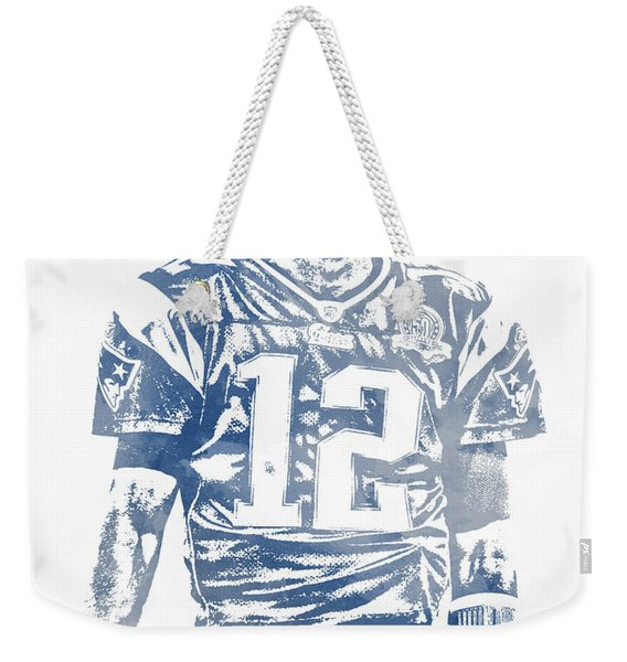 Tom Brady New England Patriots Water Color Pixel Art 7 Weekender Tote Bag