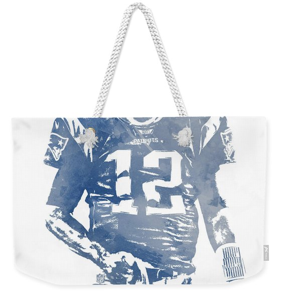 Tom Brady New England Patriots Water Color Pixel Art 8 Weekender Tote Bag