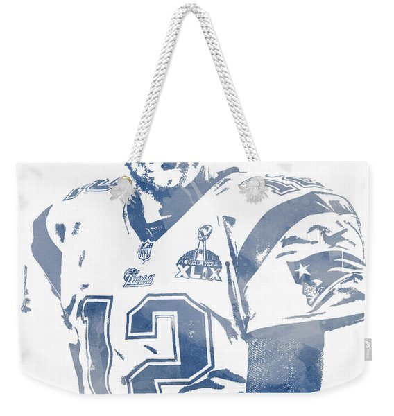 Tom Brady New England Patriots Water Color Pixel Art 9 Weekender Tote Bag