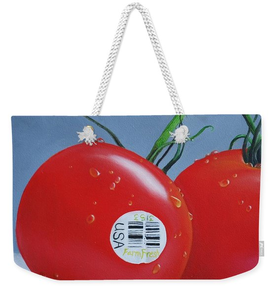 Tomatoes With Sticker Weekender Tote Bag