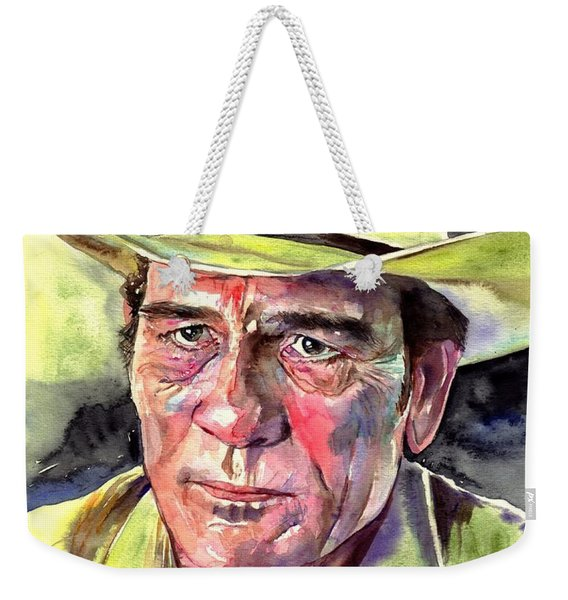 Tommy Lee Jones Portrait Watercolor Weekender Tote Bag