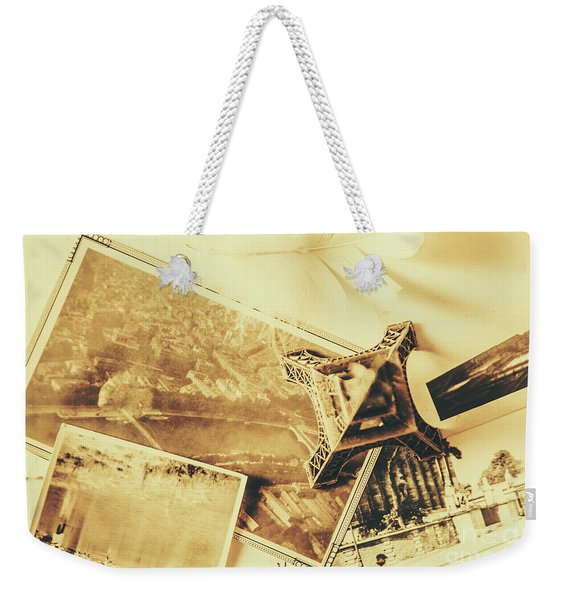 Toned Image Of Eiffel Tower And Photographs On Table Weekender Tote Bag