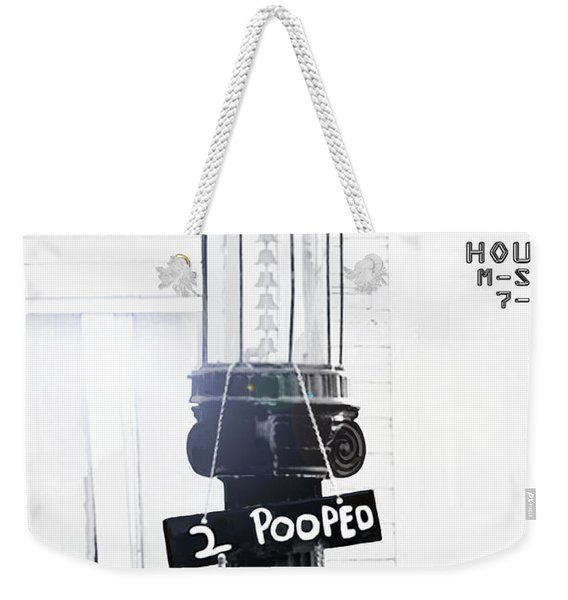 Weekender Tote Bag featuring the painting Too Pooped To Pump by Marian Cates