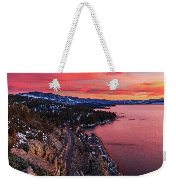 Top Of Cave Rock Tahoe Sunset Weekender Tote Bag