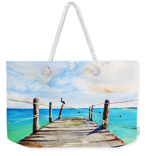 Top Of Old Pier On Playa Paraiso Weekender Tote Bag