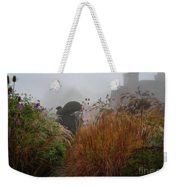 Topiary Peacocks In The Autumn Mist, Great Dixter 2 Weekender Tote Bag