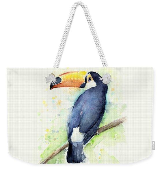 Toucan Watercolor Weekender Tote Bag