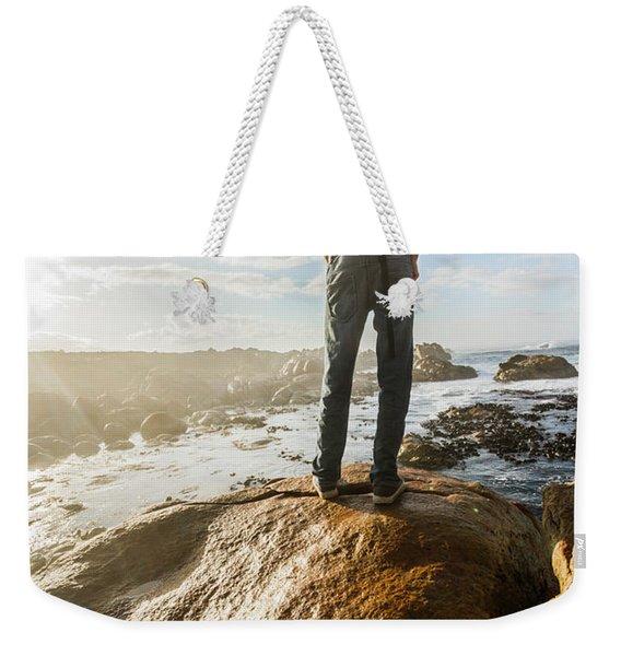 Tourist Looking At The Ocean Weekender Tote Bag