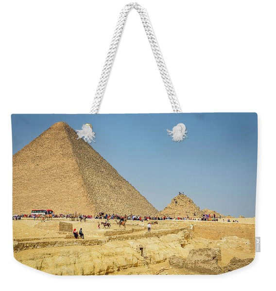 Tourists At The Pyramids - Cairo, Egypt Weekender Tote Bag