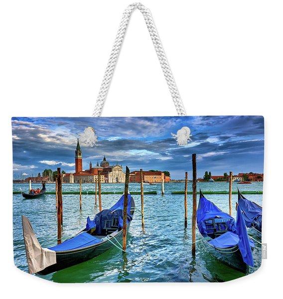 Gondolas And San Giorgio Di Maggiore In Venice, Italy Weekender Tote Bag