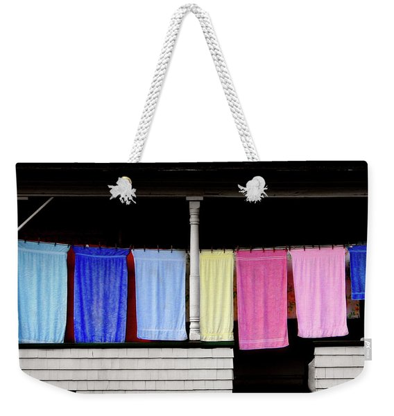 Weekender Tote Bag featuring the photograph Towel Line Stark New Hampshire by Wayne King