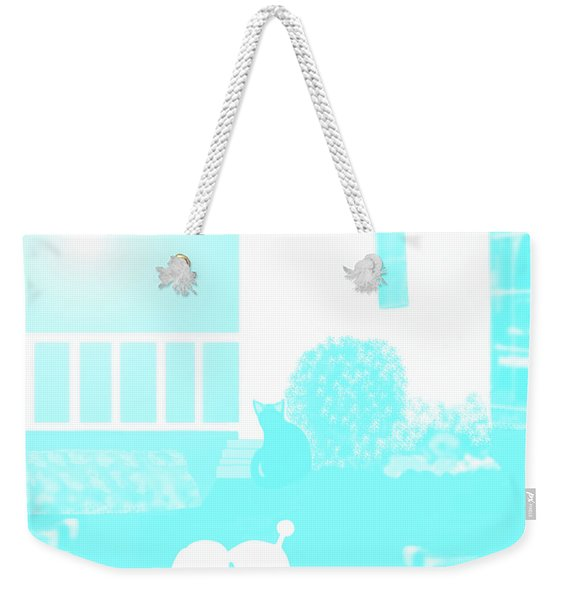 Weekender Tote Bag featuring the painting Toy Poodle Louie And Black Cat Jessica In The Yard by Marian Cates